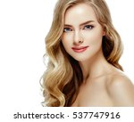 beautiful blonde curly woman... | Shutterstock . vector #537747916