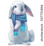 cute white hare with scarf | Shutterstock . vector #537751846