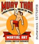 muay thai martial art poster... | Shutterstock . vector #537753958