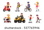 people and wheeled  vehicles ... | Shutterstock .eps vector #537765946