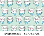 Stock vector vector illustration pattern background of head white cat doodle cartoon style 537766726