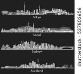 vector black and white skylines ... | Shutterstock .eps vector #537803656