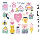 valentines day hand drawn set... | Shutterstock .eps vector #537819436