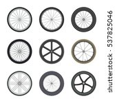 Set Of Bicycle Wheels In Flat...
