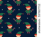 christmas elf with candy cane... | Shutterstock .eps vector #537837712