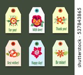 flower tags with logo set  ... | Shutterstock .eps vector #537843865