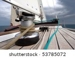 Winch With Rope On Sailing Boat ...