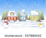 three small houses in the... | Shutterstock .eps vector #537880432