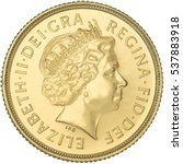 Small photo of Queen Elizabeth II Gold Sovereign Fourth Portrait obverse.