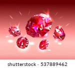 red gems rubies in light red.... | Shutterstock .eps vector #537889462