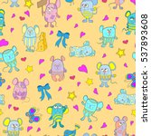 seamless pattern with funny... | Shutterstock .eps vector #537893608