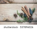 cinnamon sticks and cones on... | Shutterstock . vector #537896026