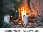 cup of cocoa with marshmallows  ... | Shutterstock . vector #537896236