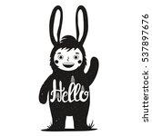 funny monochrome vector... | Shutterstock .eps vector #537897676