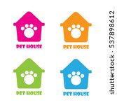 pet claw logo colour set for... | Shutterstock .eps vector #537898612