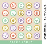 set of space icons on circular... | Shutterstock .eps vector #537900376