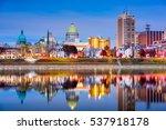 Harrisburg, Pennsylvania, USA skyline on the Susquehanna River.