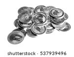 white table with silver coins ... | Shutterstock . vector #537939496