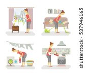 set of housewifes in funny... | Shutterstock .eps vector #537946165