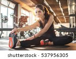 flexible young woman stretching ... | Shutterstock . vector #537956305