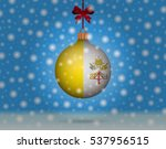 snowfall and snowball with flag ... | Shutterstock .eps vector #537956515