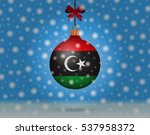 snowfall and ornament with flag ... | Shutterstock .eps vector #537958372