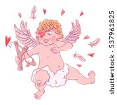 valentine's day. funny cupid... | Shutterstock .eps vector #537961825