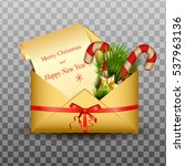 open envelope with card merry... | Shutterstock .eps vector #537963136