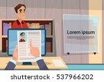 hand hold man resume curriculum ... | Shutterstock .eps vector #537966202