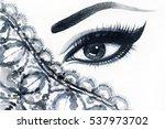 eye. makeup. fashion watercolor ... | Shutterstock . vector #537973702