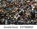 love lock on a bridge  | Shutterstock . vector #537988885