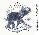 elephant in the hands tattoo... | Shutterstock .eps vector #538005532