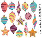 set of christmas balls.... | Shutterstock .eps vector #538028212