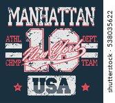 new york sport wear typography... | Shutterstock . vector #538035622