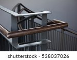wood hand rails with iron... | Shutterstock . vector #538037026