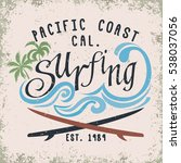 surfing t shirt graphic design. ... | Shutterstock . vector #538037056