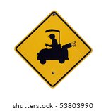 Golf Cart Crossing Sign In A...