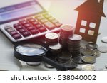 pile of coins and home  concept ... | Shutterstock . vector #538040002