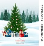christmas background with a... | Shutterstock .eps vector #538046632