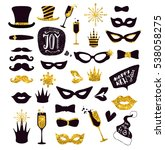 black and gold moustaches  lips ... | Shutterstock .eps vector #538058275