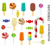 set of candy  sweets and ice... | Shutterstock . vector #538061686