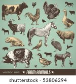 Vector Set  Farm Animals  ...