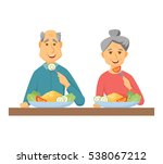 old coupe eating healthy food.... | Shutterstock .eps vector #538067212
