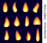realistic fire flames set...   Shutterstock .eps vector #538077106