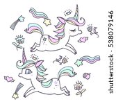the cute magic unicorn and... | Shutterstock .eps vector #538079146