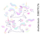 the cute magic unicorn and... | Shutterstock .eps vector #538079176