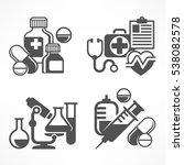 set of medical symbols on white.... | Shutterstock .eps vector #538082578
