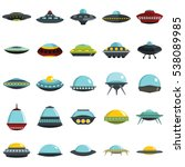 Stock vector alien spaceship spacecrafts and ufo vector set in cartoon style cosmic ship in form saucer for 538089985