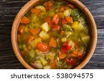 vegetable soup in a wooden... | Shutterstock . vector #538094575