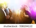 group of young friends on party ... | Shutterstock . vector #538104112